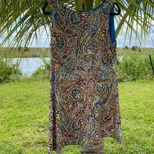 Ronni Nicole Paisley Puff Print Dress Size: L